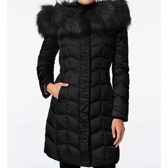 2bb6008a9 T Tahari Faux Fur Trim Hooded Puffer Coat